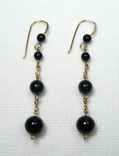 Lyns Jewelry Black Onyx Drop Earrings Gold