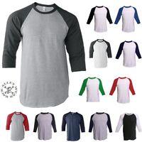 Raglan T-Shirt 3/4 Sleeve Baseball Plain Tee Jersey ~ Vintage Sports Team Unisex