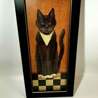 Cindy Sampson Country Farm Cat Picture Black Frame Kitty Folk Primitive Art Wall