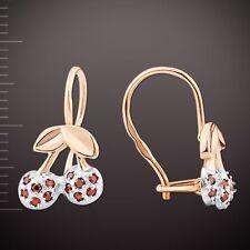 Kids Cherry Lab Ruby CZ Earrings Russian Rose Gold 14k/ 585 STUNNING