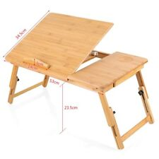 Bamboo Bed Tray Table Height Adjustable Home Bedroom Laptop Desk With Drawer UK