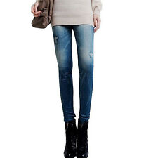 """LOOK"" Nuovo Sexy Jeggings Leggings Jeans TAGLIA 6-12 Star Blue Jeans Stampa UK STOCK"