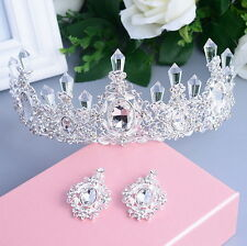 7cm High Clear Crystal Wedding Bridal Party Pageant Prom Tiara Earrings Set