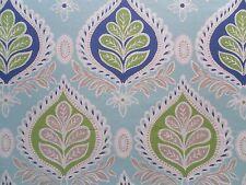 Thibaut Curtain Fabric Midland 0.8m Blue/green Leaf Motif Linen Design 80cm