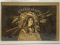 Vintage American Kid Indian Embossed Cigar Box Labels- Pristine Condition