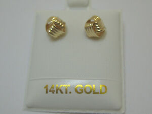 14k Solid Yellow Gold Dainty Love Knot Post Earrings Made In USA