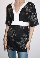 UCW Designer Black White Embroidered Short Sleeve Tunic Top Size 18 BNWT #TD08