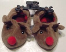 Rudolph Reindeer Slippers Toddler Size 2 Christmas Unisex Brown Plush Non Skid