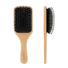 Hair Brush With Boar Bristle Natural Wooden Handle Large Paddle Hairbrush Detang