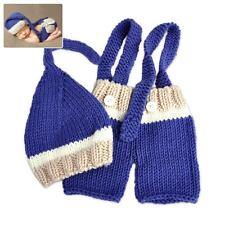 Baby Infant Blue Costume Knit Crochet Cap Pants Shorts Photography Prop Outfit