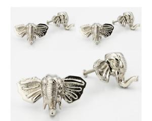 6 x Brass Elephant Drawer Knobs - Nickel & Brass Finishes