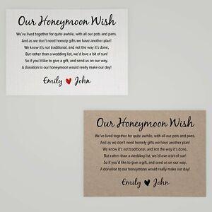 Personalised Wedding Honeymoon Gift Money Poem Cards - A7 Honeymoon Wish Inserts