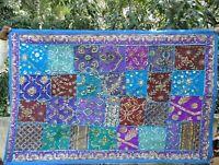 Tenture indienne Bleu turquoise Patchwork Dessus de table Tapis mural Boho P1