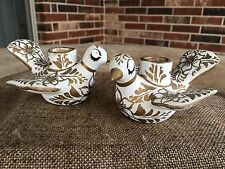 Vintage MCM Ceramic Mexican Folk Art Love Bird Candle Holders,Gold,White,Bridal