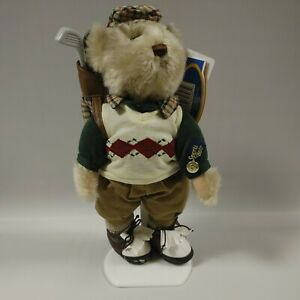 """""""Crosby"""" Brass Button Bears Sports Bear Golf Player 12"""" With Stand Plush"""