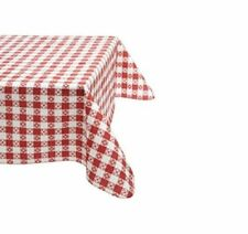 """Vinyl Gingham Flannel Back Tablecloth ~ 52"""" x 70"""" Oblong ~ Red ~ New"""