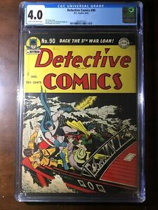 Detective Comics #90 (1944) - Batman! Robin! - CGC 4.0 - Golden Age!