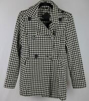 Nornor Womens Size M Black and White Hounds Tooth  Pea Coat