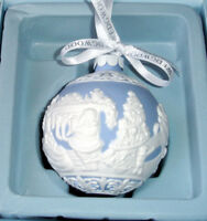 Wedgwood The Night Before Christmas Ball Ornament Blue with White Relief New