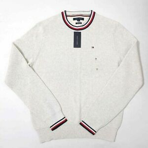 Tommy Hilfiger Mens Pullover Sweater Ivory Red Crew Neck Cotton Ribbed M New