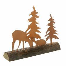 Weihnachtsartikel Hirsch Santa mit Schlitten auf Baumstamm Tierfigur Dekofigur