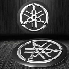 "2"" 3D Emblem Decal Logo Fairing/Fender Sticker for Yamaha Matte Black+Chromed"