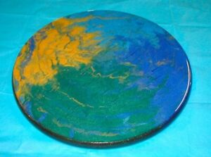 Earth tones blue green gold epoxy-coated wood round tabletop or hanging wall art
