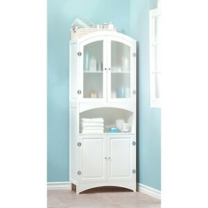 Linen Storage Cabinet Classic Design Silver Finished Hardware Glass Door