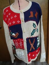 NorthCrest Holiday Lodge Winter Cardigan Sweater, Women's L