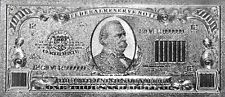 999 SILVER **$1000* Dollar Bank Note Banknote Bill One Thousand Dollars