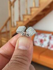 Mens & Ladies 18K W Gold Finish Simulated Diamond Screw Back Stud Earrings 8mm
