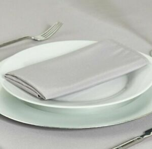 PALE SILVER GREY PLAIN POLYESTER NAPKINS 1-100 FABRIC LINEN CHRISTMAS PARTY UK