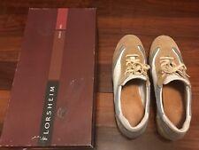 Florsheim sneakers di pelle e camoscio colore bianco, beige e celeste Tg.9 (43)