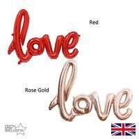 "40"" Rose Gold / Red LOVE Script Shape Wedding Anniversary Foil Balloon"
