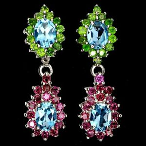 Oval Swiss Blue Topaz Chrome Diopside Rhodolite 925 Sterling Silver Earrings