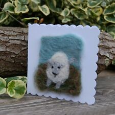 Handmade Needle Felt Blank Greetings Card or Picture To Frame - Frolicking Lamb