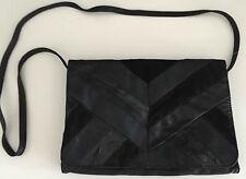 Must Have Classic Retro SPORTSGIRL Black Faux Leather Envelope Shoulder  Bag