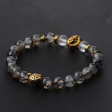 2017 Men's Black Lava Stone Gold Lion Leopard Beaded Charm Bracelets Cheapest