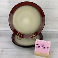 Pfaltzgraff ARIA RED Border Stoneware Beige Cream Center Dinner Plates Set 3
