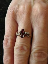 Antique 14K Yellow Gold Victorian Garnet And Pearl Ring Size 6