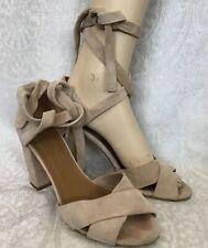 d1a92525e5 aquazzura Suede Beige Wraparound Ankle Straps Open Toe Chunky Heel Size 37  1/2