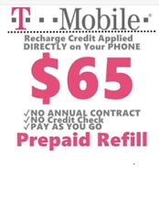 T-mobile $65 Prepaid Refill Card, Top Up, Air Time, Pin, Recharge, Reload