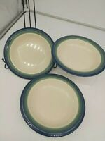 Lot of 3 Pfaltzgraff Ocean Breeze Soup Cereal Bowls Stoneware Blue Green Retired