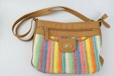 Rosetti Med Multi-Color Stripe Weaved with Lt. Brown TrimCrossbody Handbag Purse