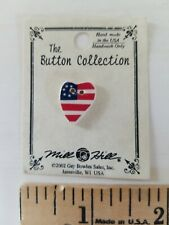 NEW Mill Hill Handmade Ceramic Button for Cross Stitch AMERICAN FLAG USA HEART