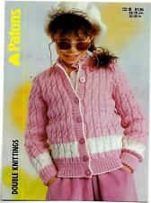 Patons DK KNITTING PATTERN, Girls Cable Cardigan