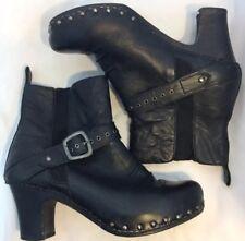 Dansko Rhianna Black Leather Wooden Clog Boots EU40 US10