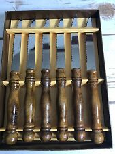 vintageJapan STEAK knives round oak wood handle  stainless serrated Set of 6