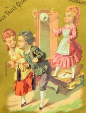 1870's-80's Kids Broken Grand Father Clock Paris Victorian Trade Card F91