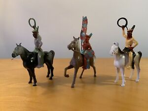 "3 American Indians on Horseback - Beton Toys - Plastic - 5-1/2"" Height"